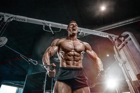 Culturista caucásico guapo brutal que se resuelve en el pecho del entrenamiento del gimnasio que bombea los músculos pectorales withdumbbells y en los cruces que ganan el peso y plantea concepto de la aptitud y del levantamiento de pesas Foto de archivo - 89215160