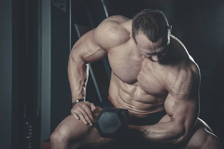 muscle gain: Handsome muscular Caucasian man of model appearance working out training arms in gym gaining weight pumping up muscles bicep and tricep with dumbbells and on machines fitness and bodybuilding concept
