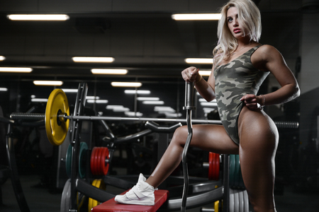 active beautiful Caucasian athletic fit young woman exercise training and bodybuilding Imagens