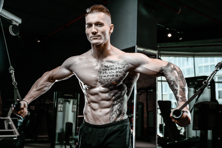 Brutal handsome Caucasian bodybuilder working out in the gym training chest pumping up pectoral muscles with dumbbells and on crossovers gaining weight Banque d'images