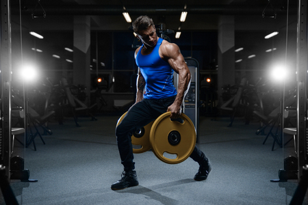 Handsome young fit muscular caucasian man of model appearance workout training in the gym Stock Photo