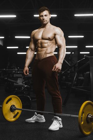 Handsome strong athletic men pumping up muscles workout barbell squat bodybuilding concept background - muscular bodybuilder men doing exercises in gym naked torso