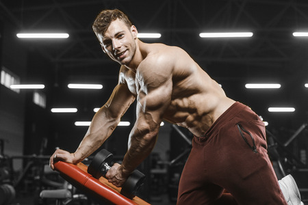 Handsome strong athletic men pumping up muscles workout bodybuilding concept background - muscular bodybuilder handsome men doing exercises in gym naked torso Standard-Bild - 117420520
