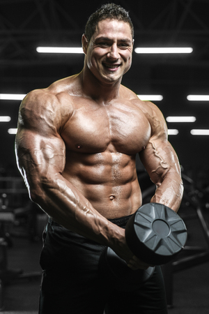 Handsome strong athletic men pumping up muscles workout bodybuilding concept background - muscular bodybuilder handsome men doing exercises in gym naked torso