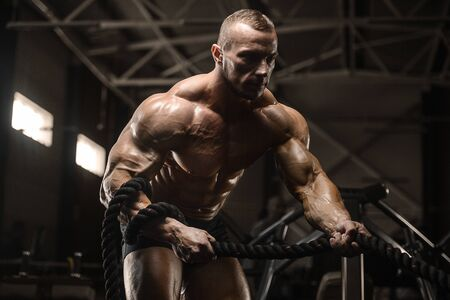 Handsome strong athletic men pumping up biceps muscles workout fitness and bodybuilding concept background - muscular bodybuilder fitness men doing arms exercises in gym torso