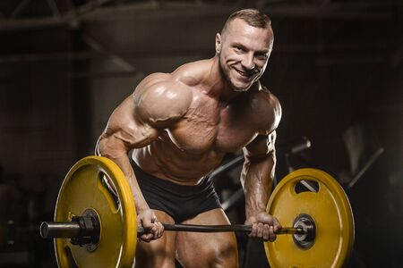 Handsome strong athletic men pumping up back muscles workout fitness and bodybuilding concept background - muscular bodybuilder fitness men doing pull-ups exercises in gym naked torso Banco de Imagens