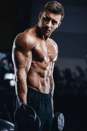 Handsome strong athletic men pumping up muscles workout fitness and bodybuilding concept background - muscular bodybuilder fitness men doing arms abs back exercises in gym naked torso Banco de Imagens