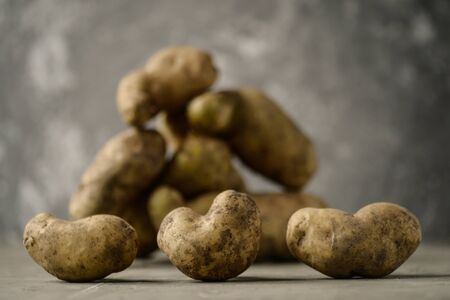 Ugly potato in the heart shape on a gray background. Funny, unnormal vegetable or food waste concept Horizontal orientation Stock Photo