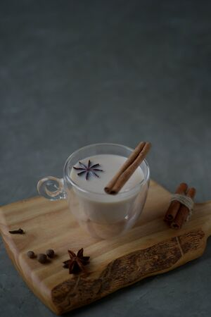 Masala warm spicy tea Indian chai. Warming drink with spice healthy food, conception health. New year, Christmas decoration, winter holidays, treat ingredients components