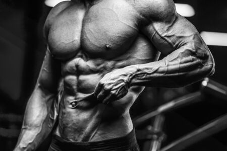 Handsome strong athletic man pumping up muscles workout fitness and bodybuilding concept background - muscular bodybuilder fitness men doing arms abs back exercises in gym naked torso