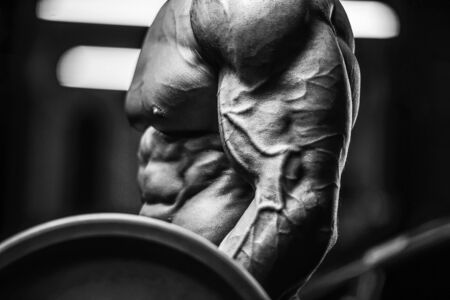 Handsome strong athletic man pumping up biceps muscles workout fitness and bodybuilding concept background - muscular bodybuilder fitness men doing arms exercises in gym naked torso