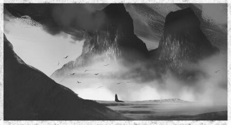 Digital concept art landscape illustration fantasy view