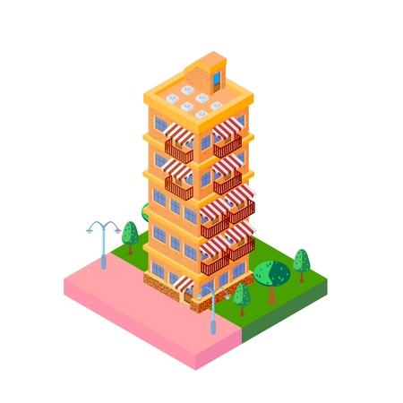 multi story: Bright icon isometric orange multi story house.