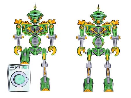 Robot transformer green with washing machine