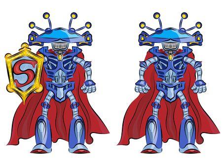 Robot superhero in a red cloak alien funny