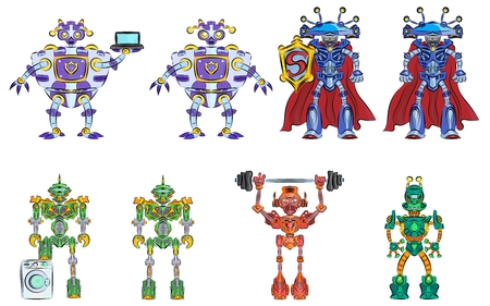 로봇 및 안드로이드 변압기 인공 지능의 여러 가지 빛깔의 기계의 선택 일러스트