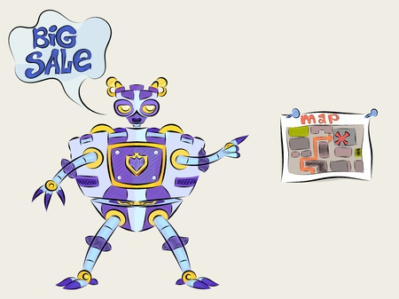 Robot android talks about big discounts on the map Illustration