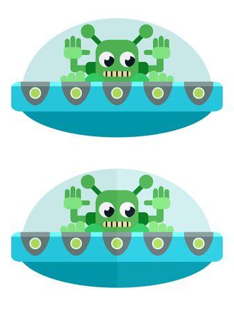Flat green aliens on a blue flying saucer flies