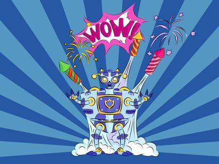 Pop art robot among the fireworks on a blue background scream wow