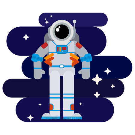 among: Flat astronaut in space among stars in a spacesuit Illustration