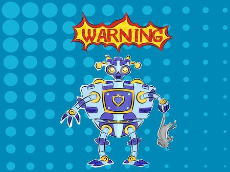 Blue pop art robot caught a small predator