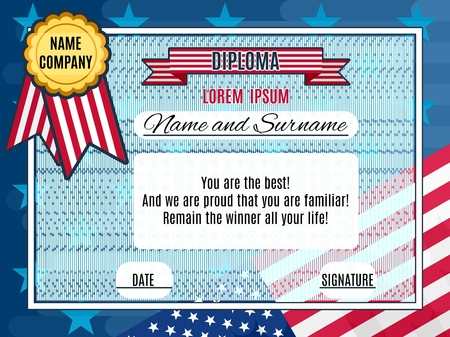 Cute american diploma happy winner of competition vector bright flag in the background