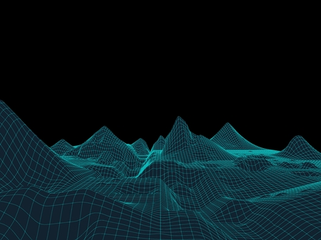 Neon mountains computer unearthly landscape vector illustration grid Иллюстрация