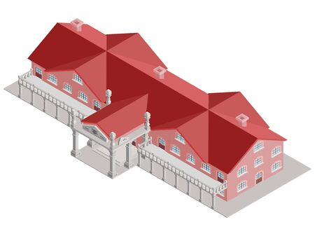 premises: administrative building isometric vector with red roof and columns