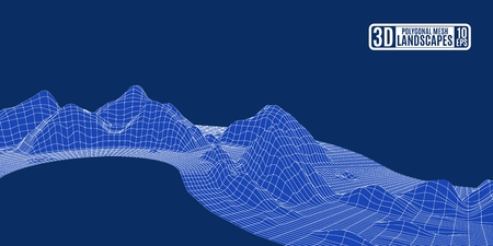 Polygonal mountain grid landscape blue wave for advertising and presentations.