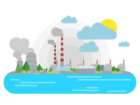 nuclear power station on the riverside vector Bright flat illustration
