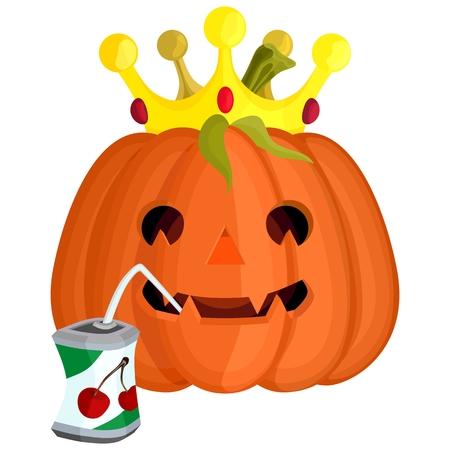 orange evil Halloween pumpkin with a crown drinking juice