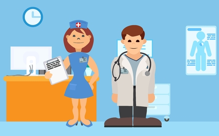 medical staff stands in hospital room vector illustration