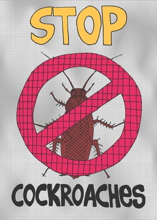 bright illustration of a warning about cockroaches vector work Illustration
