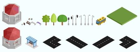 Isometric Road Gazebo Lamp Benches Designer Vector