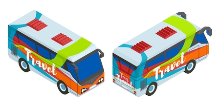 Two isometric bus for travel vector illustration