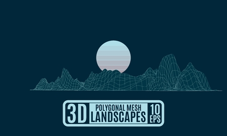 Grid polygonal computer mountain island with the moon vector drawing