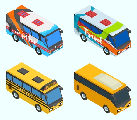 Isometric tourist, sports and school buses vector drawing Illustration