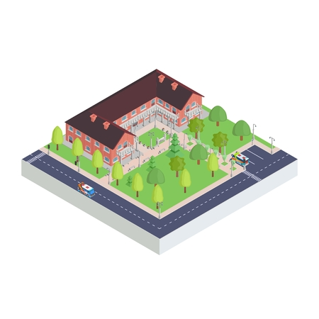 Complex isometric icon of the city museum drawing vector.