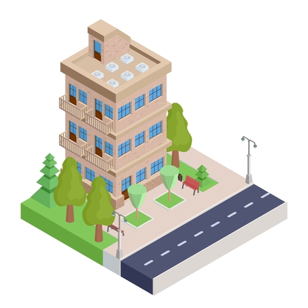 Brown isometric house with balconies vector illustration.