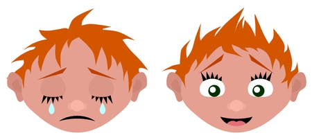 The cartoon head cries and laughs vector illustration.