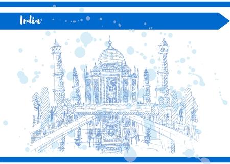 india taj mahal sketch drawing blue ink vector illustration