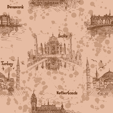 European and Asian Sketch Pattern vector illustration