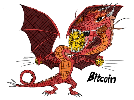 red dragon holds gold bitcoin vector illustration