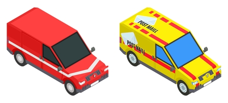 red and yellow mail cargo isometric car stock vector image illustration Иллюстрация