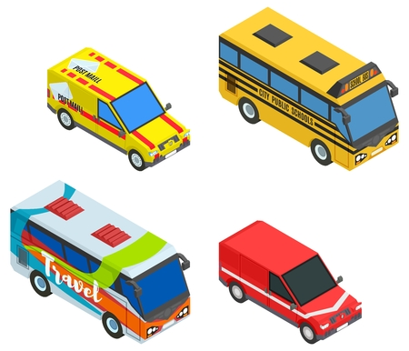 set isometric cars and buses stock vector image illustration