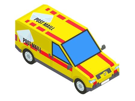 yellow postal isometric car stock vector image illustration