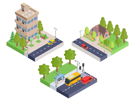 Set isometric houses and bus stop.vector stock image illustration