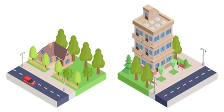 A country house with a fence and an apartment isometric house. vector stock image illustration Illustration
