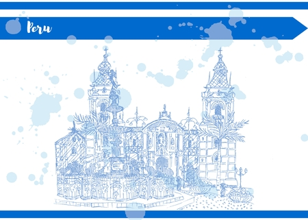 sketch blue illustration of feather fountain and palace vector stock Foto de archivo - 101785467