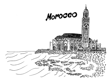 Morocco black and white illustration temple on the coast vector stock Vettoriali